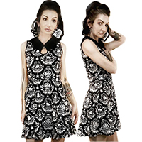 Bat Collar Dress by Too Fast / Rat Baby Clothing - Halloween Damask Wallpaper