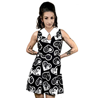 Bat Collar Dress by Too Fast / Rat Baby Clothing - Haunted Hearts Doily Halloween