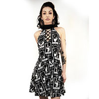 La Fortune Tarot Card Choker Strappy Skater Dress by Too Fast / Rat Baby Clothing - SALE sz M & 2X only