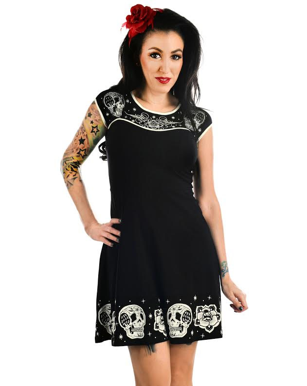 Dame Dress by Too Fast/Banjo & Cake Clothing - Embroidered Skull Patchwork - SALE sz 2X only