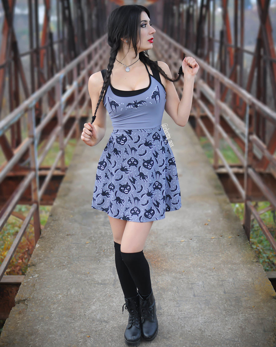 Ginger Skater Dress by Too Fast - Spooky Cats - SALE sz M & XL only