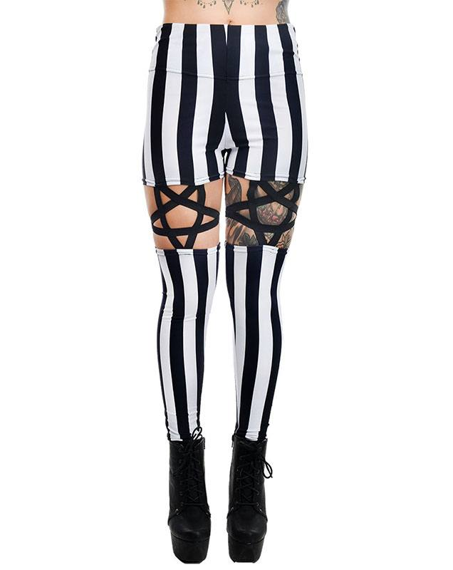 Black & White Stripe High Waist Pentagram Garter Leggings by Rat Baby/Too Fast Clothing - SALE sz M only
