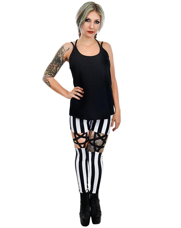 4cc82589f Black   White Stripe High Waist Pentagram Garter Leggings by Rat Baby Too  Fast Clothing - SALE. »