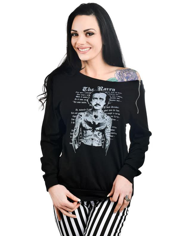 Billie Zipper Long Sleeve Top by Too Fast Clothing -The Raven - SALE