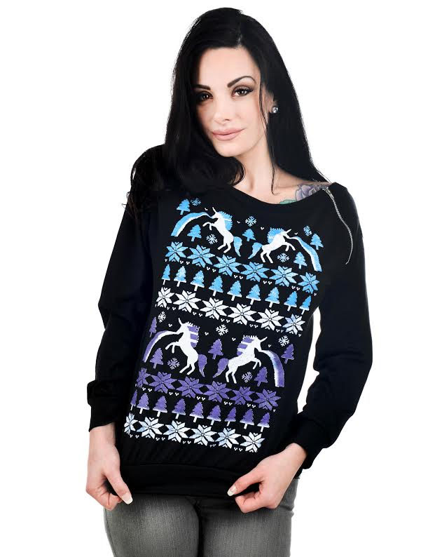 Billie Zipper Long Sleeve Top by Too Fast Clothing - Xmas Unicorn - SALE sz M & L only