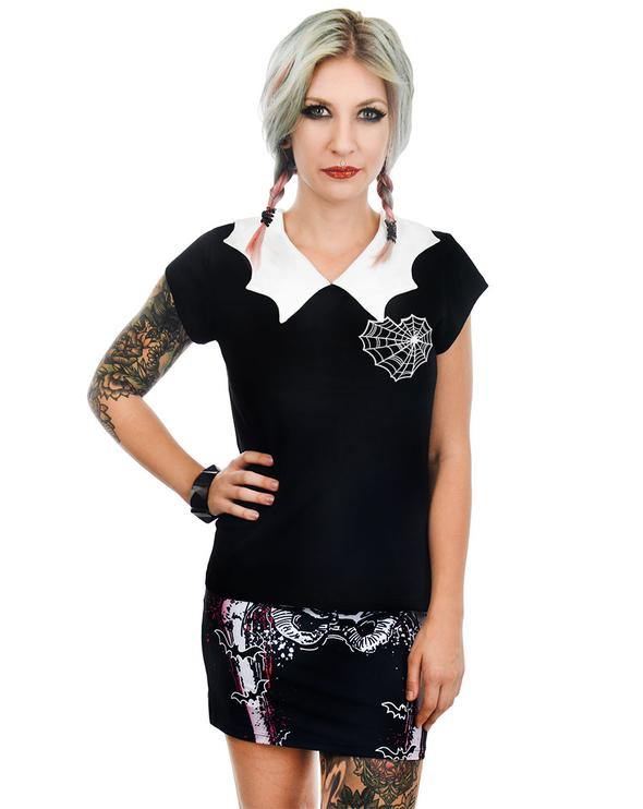 914b72ce6ef Spider Web Heart Bat Collar Top by Rat Baby Too Fast Clothing - SALE