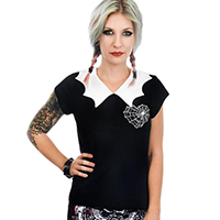 Spider Web Heart Bat Collar Top by Rat Baby/Too Fast Clothing - SALE sz M only