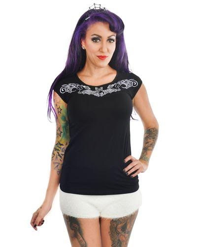 Dame Embroidered Top by Too Fast Clothing - Rose Bats - SALE sz L only