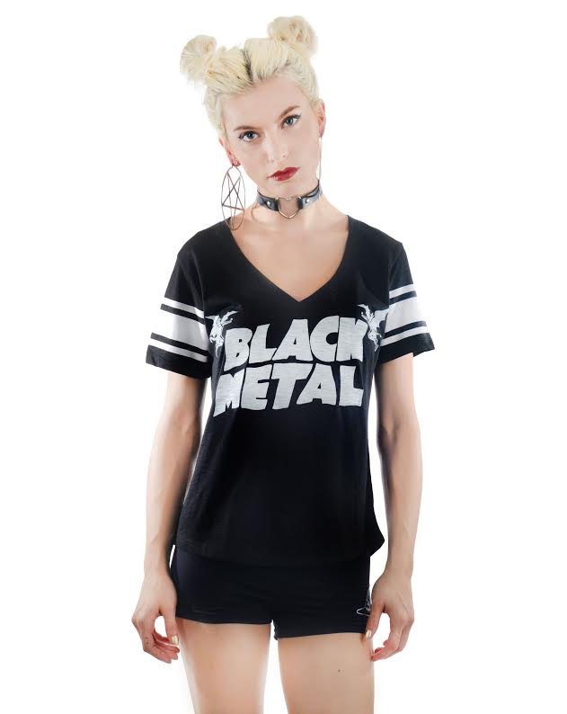 Foul V Neck Varsity Tee by Rat Baby/Too Fast Clothing - Black Metal
