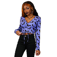 Crazy Pastel Bats Wrap Top by Too Fast Clothing - Purple