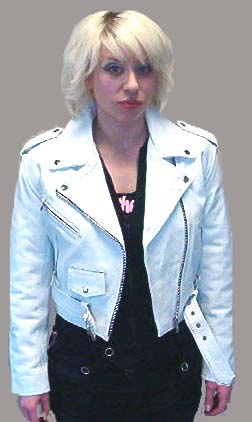 33e1d4857 Girls Biker Jacket- WHITE leather