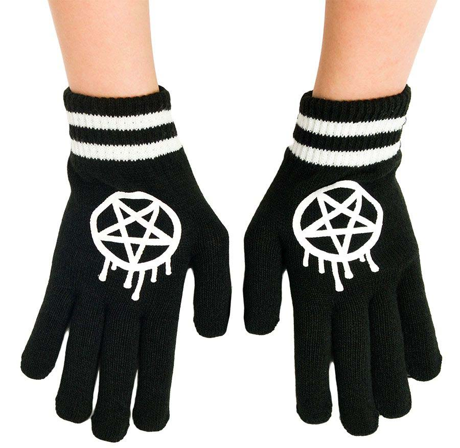 Gloves by Too Fast / Rat Baby Clothing - Sporty-Gram Pentagrams -SALE