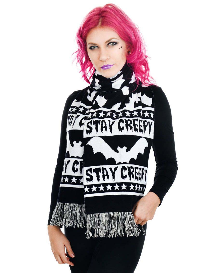 Stay Creepy Scarf by Too Fast  Clothing - SALE