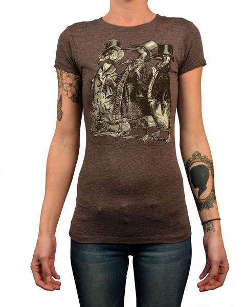 Aristocrats on a heather brown girls fitted shirt by Annex Clothing - SALE sz S & M only