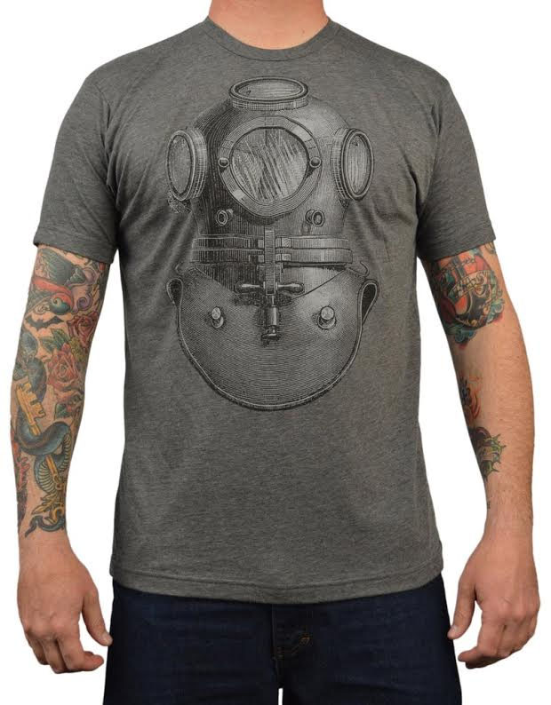 Antique Divers Bell Helmet on a charcoal guys slim fit shirt by Annex Clothing