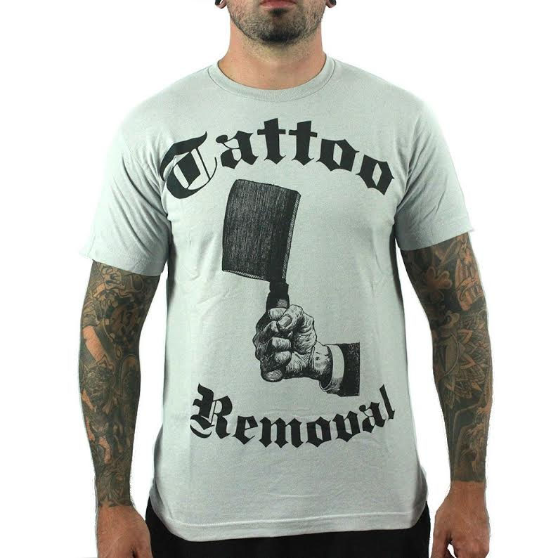 Tattoo Removal on a gray guys slim fit shirt by Annex Clothing - SALE