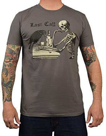 Last Call - Raven & Skeleton on a charcoal guys slim fit shirt by Annex Clothing