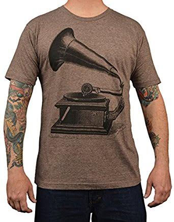Phonograph on a heather brown guys slim fit shirt by Annex Clothing