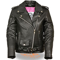 AYP Premium Girls Motorcycle Jacket- BLACK leather (Pink Liner)