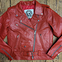 AYP Premium Girls Motorcycle Jacket- RED leather