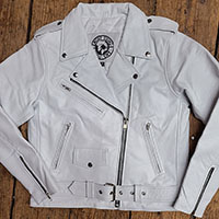 AYP Premium Girls Motorcycle Jacket- WHITE leather