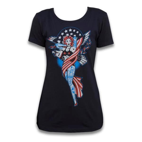 Lady Liberty Scoop Neck Girls Shirt by Black Market Art Company by Artist Adi - SALE sz S only