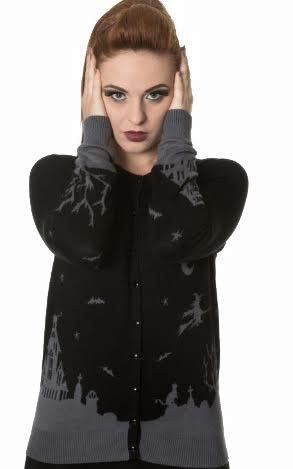 Dark Skyline Cardigan by Banned Apparel - grey & black