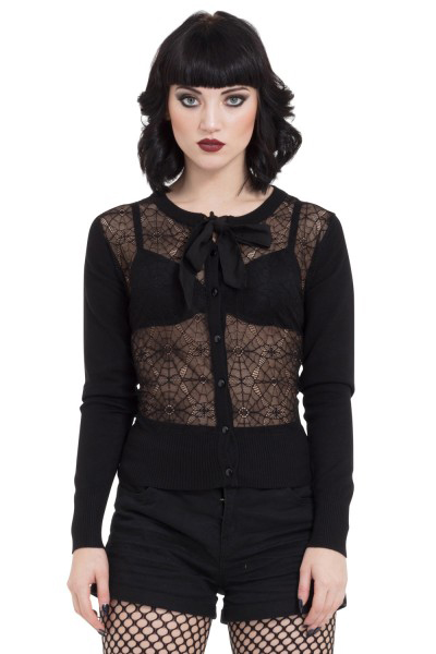 Web Lace Cardigan With Chiffon Tie by Jawbreaker - in black - SALE sz M only