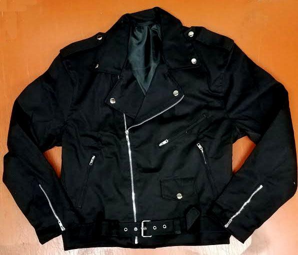Black Cotton Biker Jacket - Basic Moto