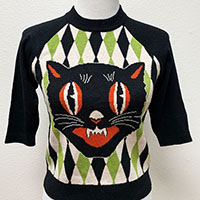 Halloween Harlequin Cat Sweater by The Oblong Box Shop