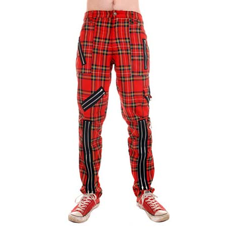 Original 15 Zip Bondage Pants (Cotton Blend) by Tiger Of London- RED PLAID