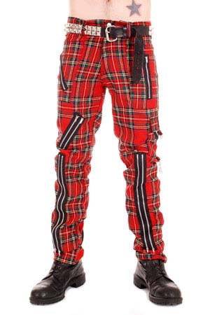 Original 15 Zip Bondage Pants (Wool Blend) by Tiger Of London- RED PLAID