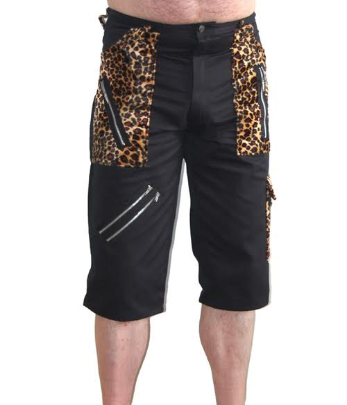 Leopard & Black Cotton Bondage Shorts by Tiger Of London - sz 28 only
