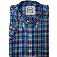 Short Sleeve Vintage Button Up By Relco London- Blue Multi Check