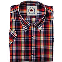 Short Sleeve Vintage Button Up By Relco London- Navy/Red Check