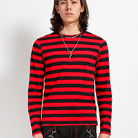 Unisex Long Sleeve Stripped Top by Tripp NYC - Black/Red