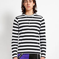 Unisex Long Sleeve Stripped Top by Tripp NYC - Black/White