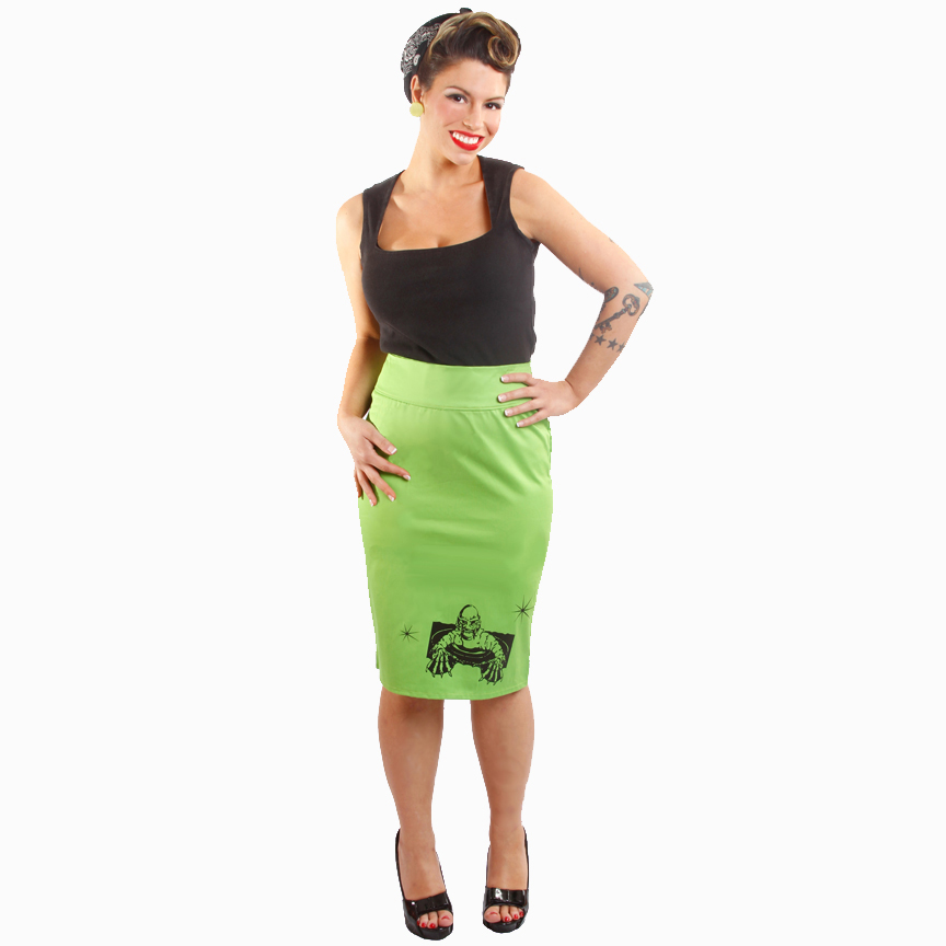 The Creature from the Black Lagoon on a green pencil skirt by Dressed To Kill - SALE sz M only
