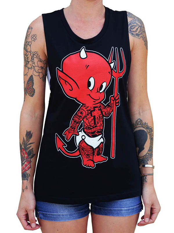 Little Devil Girls Muscle Tee by Low Brow Art Company
