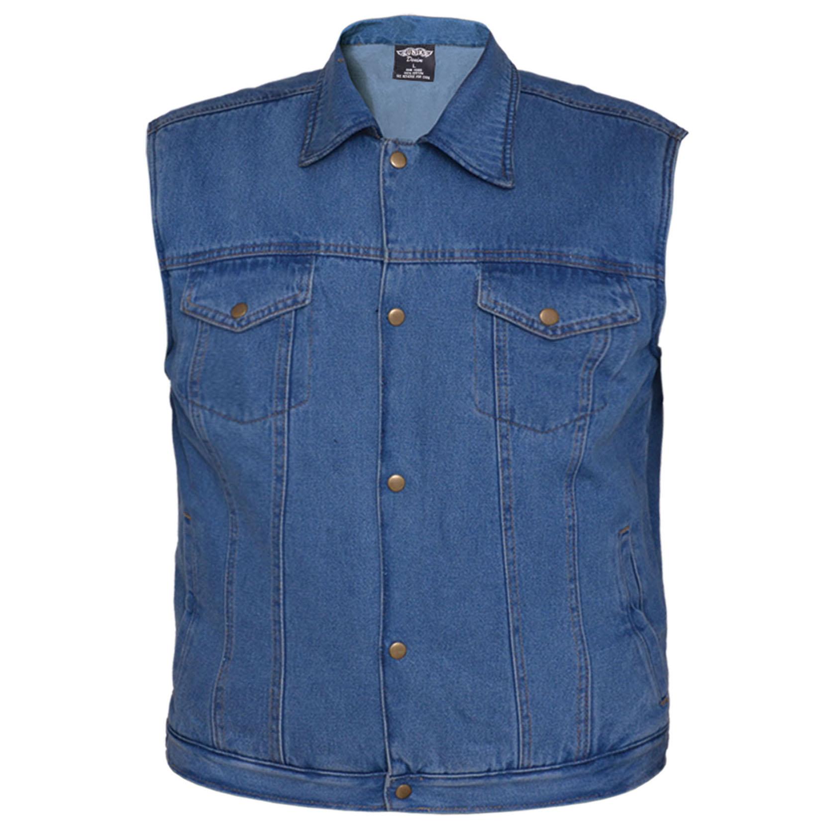 Denim Vest by Revolution Gear/Unik Leather- WORN BLUE