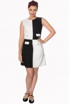 Dylan Mod Black & White Sleeveless Mini Dress by Banned Apparel - SALE sz M only