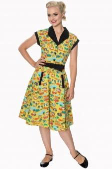 Starlight Camper / Van Print Swing 50's Style Dress by Banned Apparel - SALE sz S only