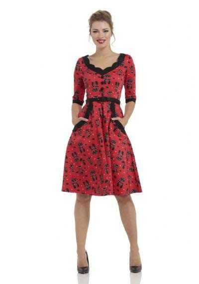 Katnis - Cats in the Rain Flare Dress by Voodoo Vixen - in RED - SALE sz M only