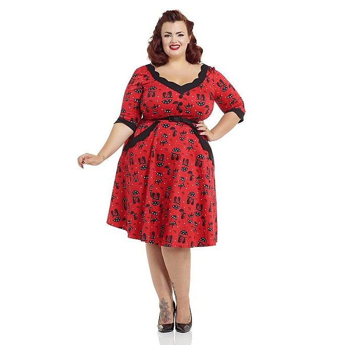 Katnis - Cats in the Rain Flare Plus Size Dress by Voodoo Vixen - in RED