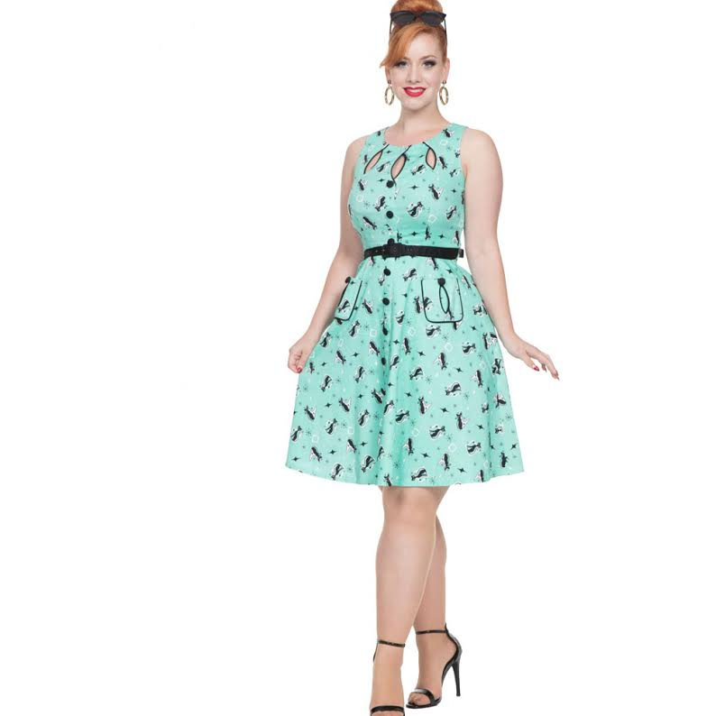 Retro Kitty Flare Dress with Cut Out Detail by VooDoo Vixen - in Mint - SALE sz S & L only