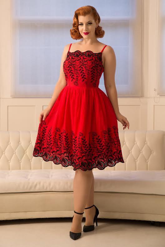Scarlett Embroidery Flare 50's Dress by VooDoo Vixen