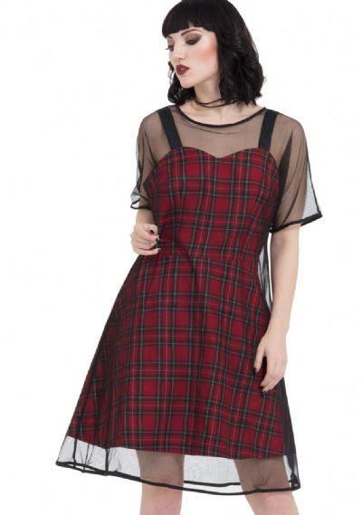 Tartan Mesh Skater Dress by Jawbreaker  - SALE sz XL only