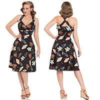 Lucy Vegas Print Flared Dress by Voodoo Vixen