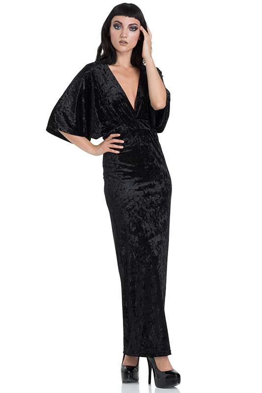 Black Velvet Maxi Dress with Kimono Sleeves by Jawbreaker