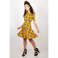 Reality Check Plaid Skater Dress by Jawbreaker - Yellow - SALE